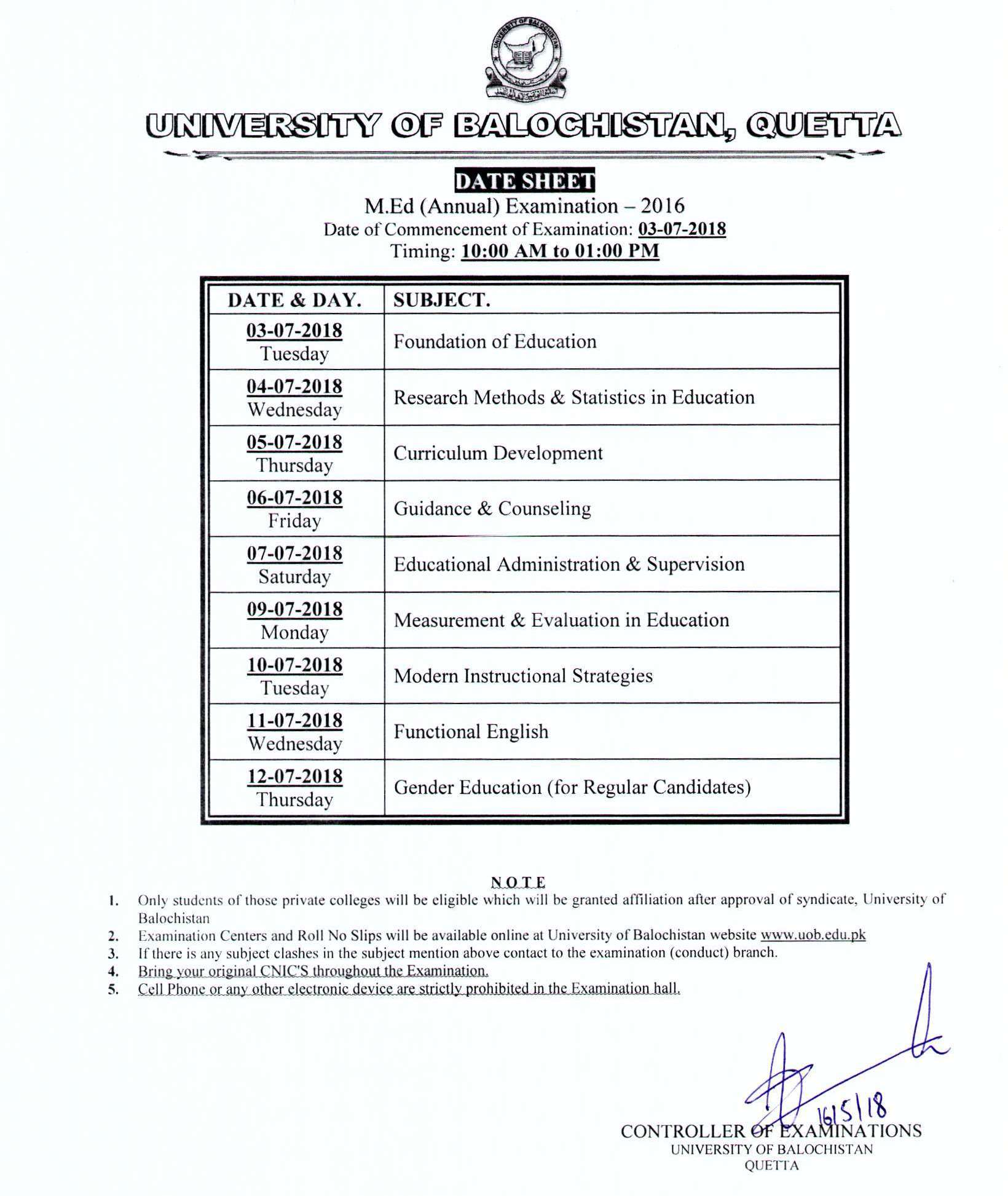UOB Examination Notifications